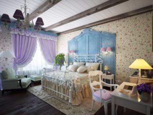Балочный потолок для спальни в стиле прованс