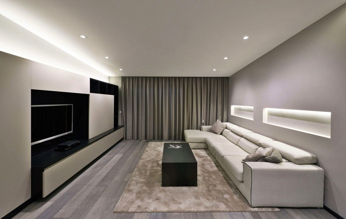 Интерьер гостиной в стиле минимализм (4)