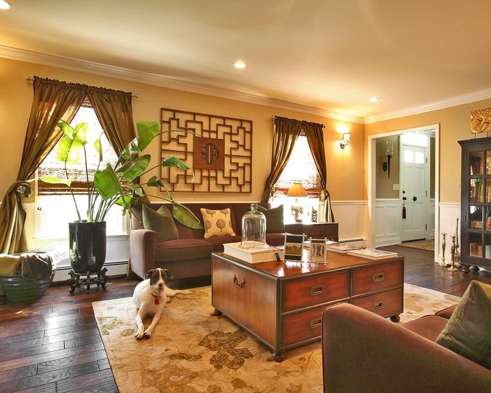 Гостиная комната квартиры в китайском стиле