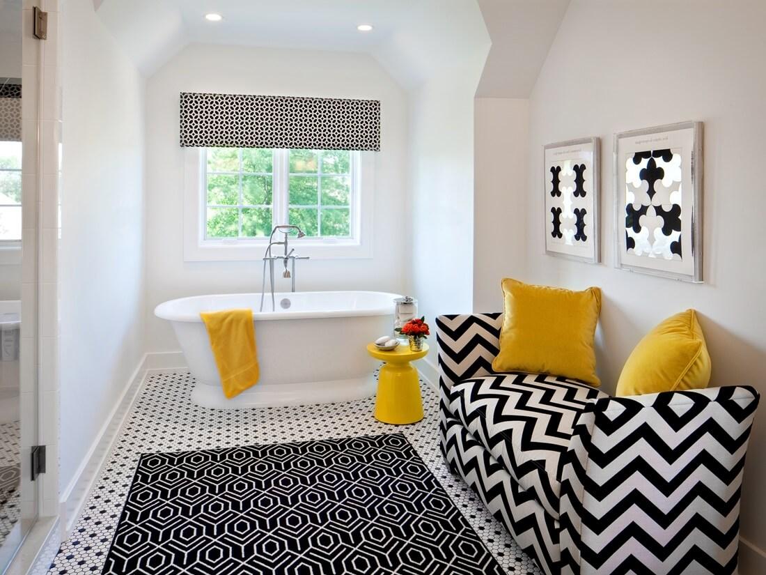 Ковер в интерьере ванной комнаты - фото