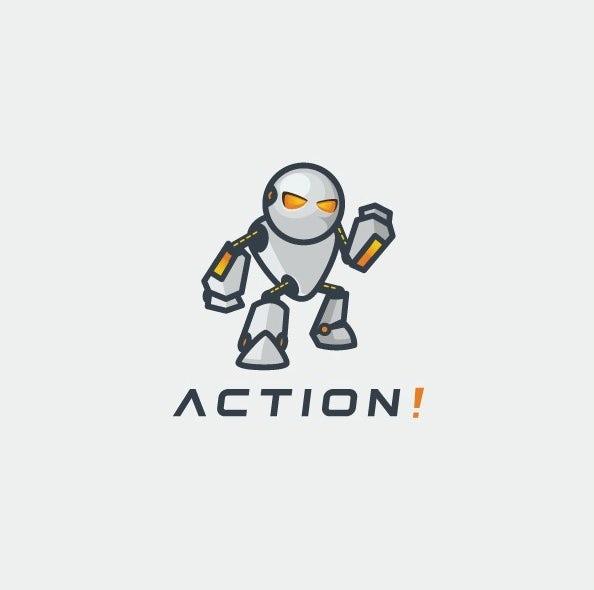 простой логотип робота «width =» 594 «height =» 590