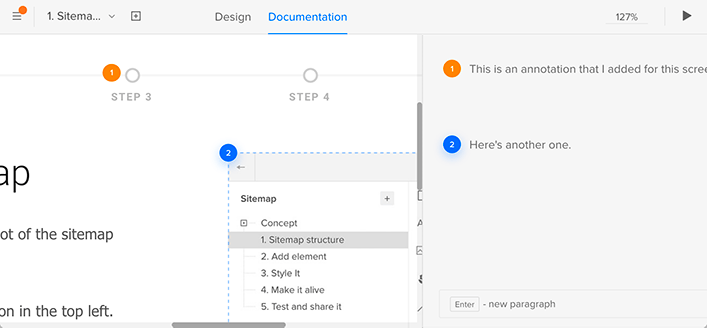 Снимок экрана с аннотацией, прикрепленной к элементу в UXPin «style =» width: 100% »/>    <figcaption class=