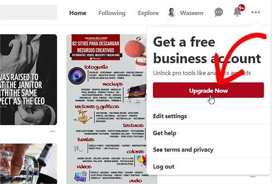 Обновление до бизнес-счета Pinterest «width =» 550 «height =» 372 «class =» alignnone size-full wp-image-54672 »/> </p> <p> Когда вы нажмете на эту кнопку, она перенесет вас на страницу настройки учетной записи. Вам необходимо ввести название своей компании, URL-адрес веб-сайта и выбрать тип бизнеса. </p> <p> <img title=