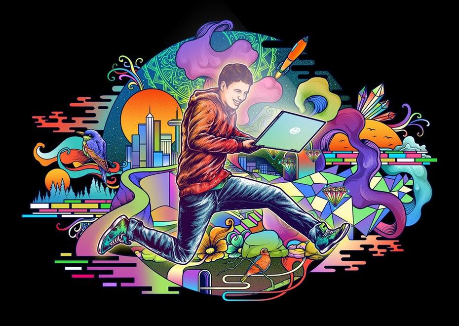 Иллюстрация человека, прыгающего с ноутбуком «width =» 1890 «height =» 1341