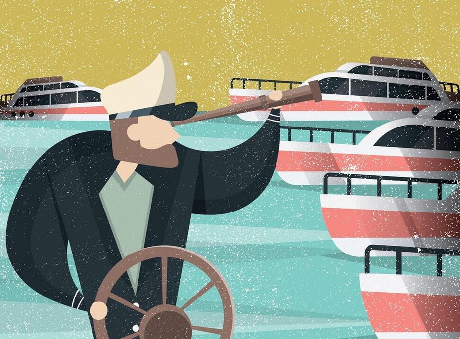 Иллюстрация яхтсмена с использованием телескопа «width =» 2039 «height =» 1503