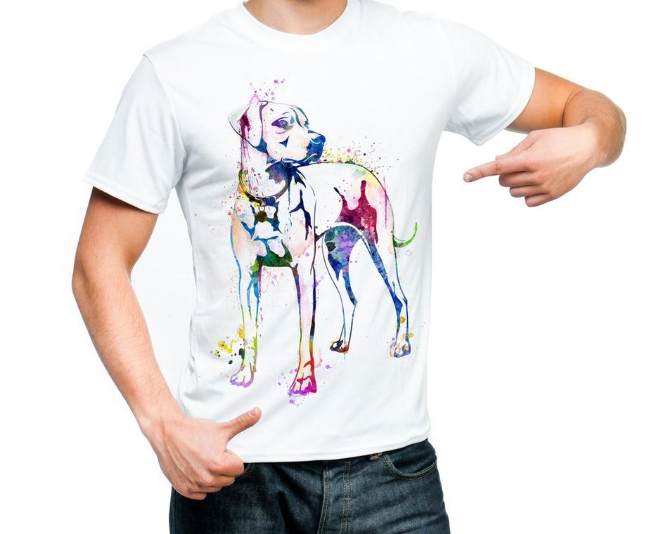 "Собака Яркая акварельная рубашка ""width ="" 2000 ""height ="" 1634"