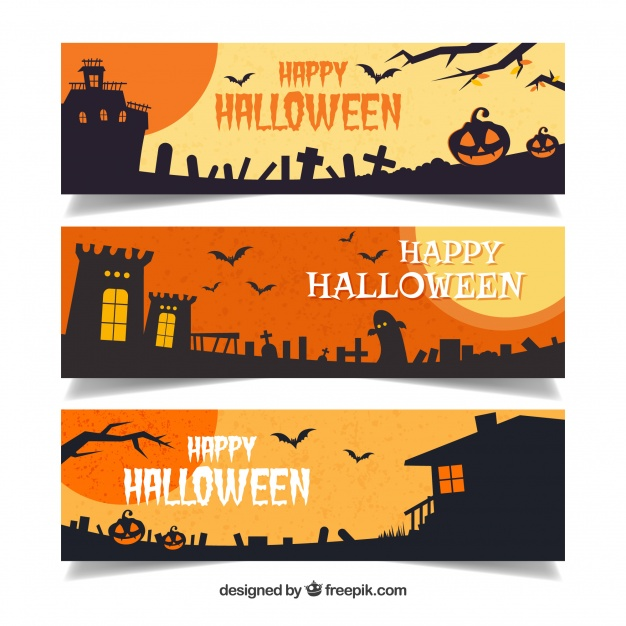 Set of halloween banners with dark landscapes