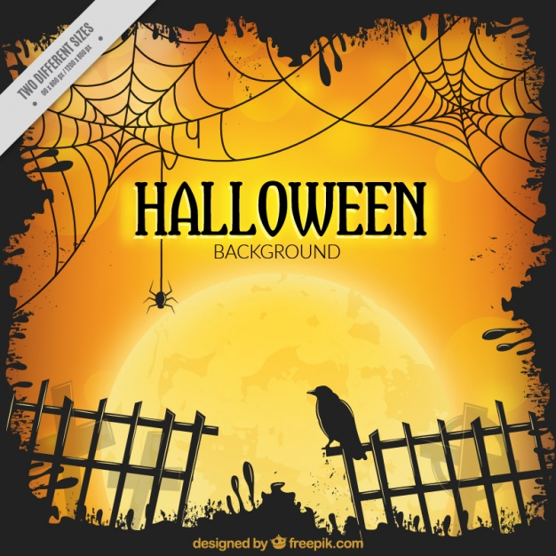 Halloween background with fence and a raven