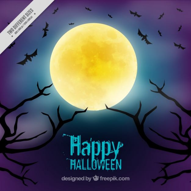 Background for halloween with a full moon
