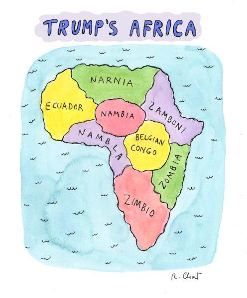 Роз Част, «Африка Трампа», 2018, «Нью-Йоркер», 16 октября 2017 года (оригинальная версия B &amp; W, 2017), редактор: Эмма Аллен, любезно предоставлена художником «width =» 496 «height =» 600 «/&gt;   <p class=