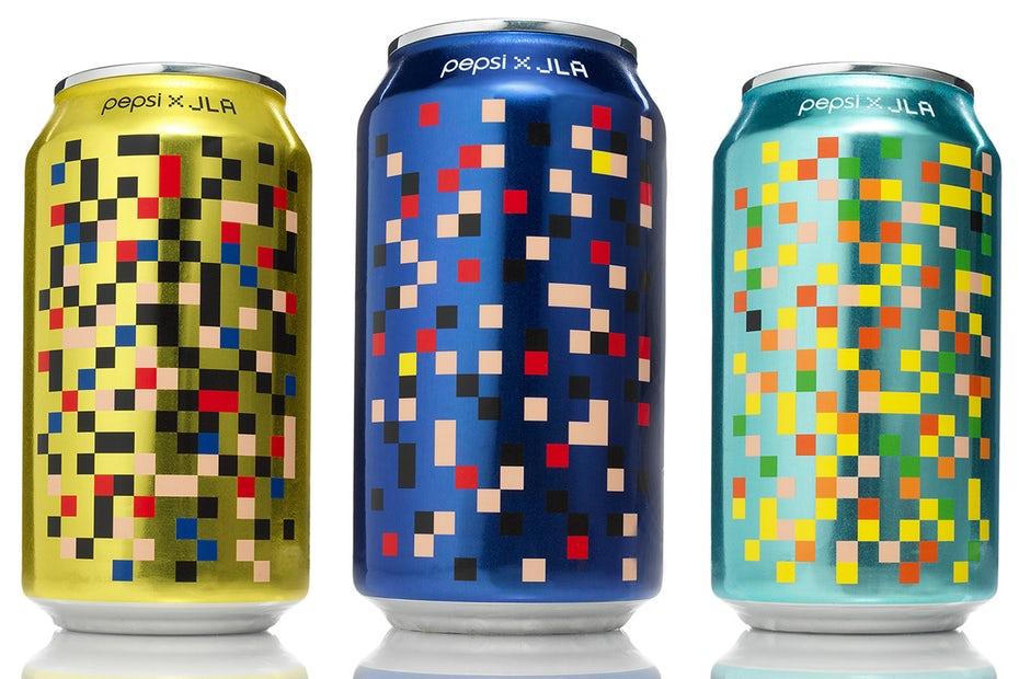 Красочная концепция, вдохновленная пикселями для Pepsi