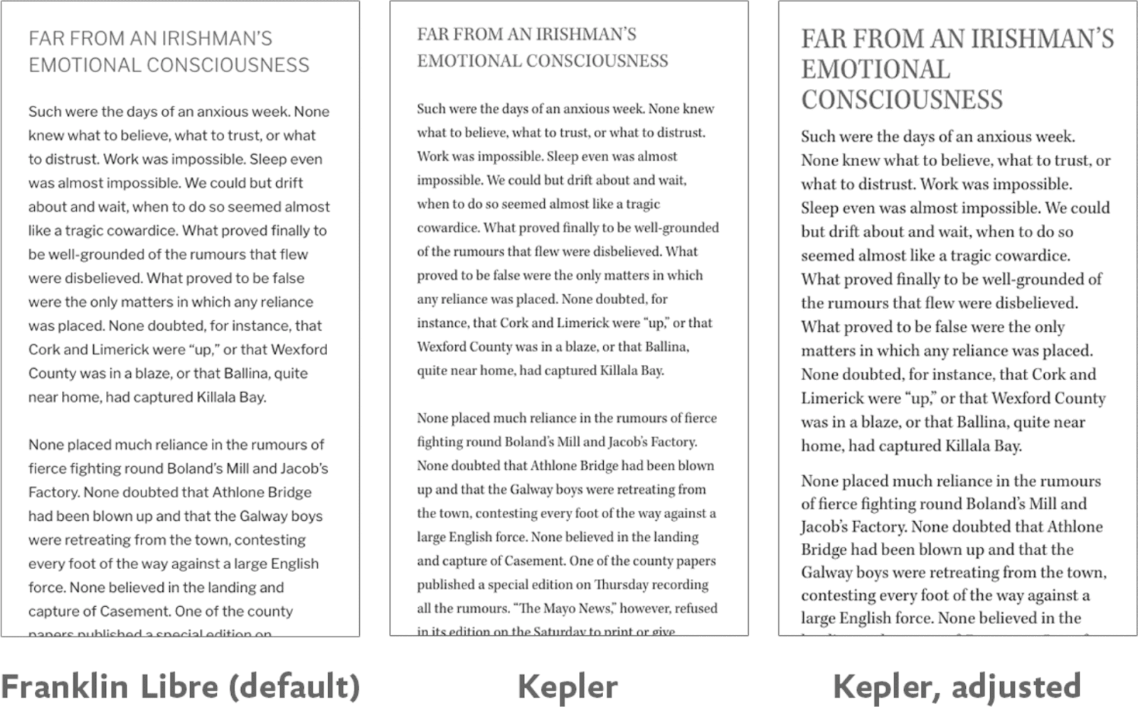 Three panels (from left): Text set in Libre Franklin, the same text re-rendered in Kepler, and (finally) adjusted in Kepler.