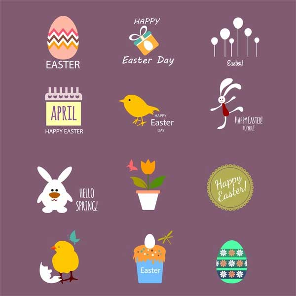 Easter-icons-collection-with-colored-flat-design