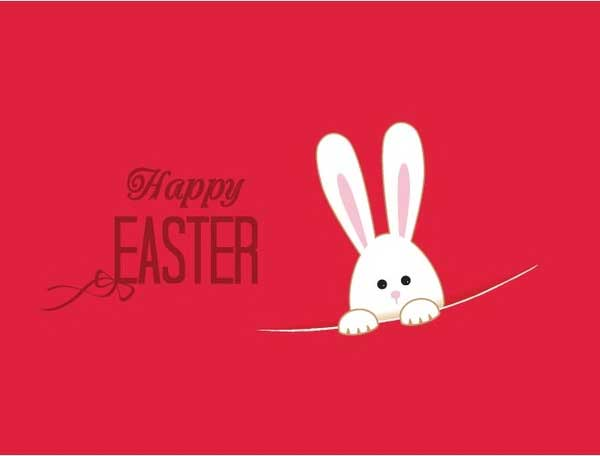 Free-vector-cute-rabbit-in-pink-easter-background
