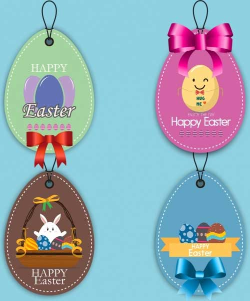 Easter-tags-collection-colorful-shiny-decoration-rounded-design