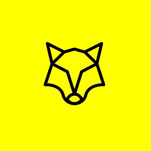 геометрическое изображение головы волка на ярко-желтом фоне