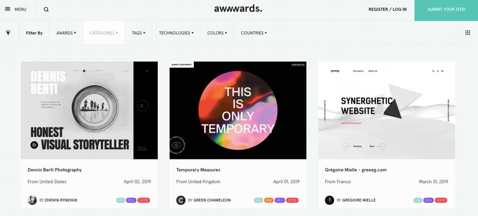 Домашняя страница Awwwards &quot;width =&quot; 1415 &quot;height =&quot; 639 &quot;/&gt;    <figcaption> Изображение через Awwwards </figcaption></figure> <p> Безусловно один из самых изящных и полных источников вдохновения для дизайна веб-сайта В этом списке Awwwards &#8212; это награда для лучших дизайнеров и энтузиастов мира. Благодаря хорошо спроектированному сеточному макету, постоянному потоку нового контента &#8212; каждый день у Awwwards есть новый сайт &#8212; несколько категорий и лучший в отрасли поиск. Awwwards &#8212; инструмент, который включает в себя цвета, технологии, категории, награды, теги и многое другое. Это отличная отправная точка для поиска лучшего вдохновения для дизайна веб-сайтов, которое может предложить Интернет. </p> <h3><span id=