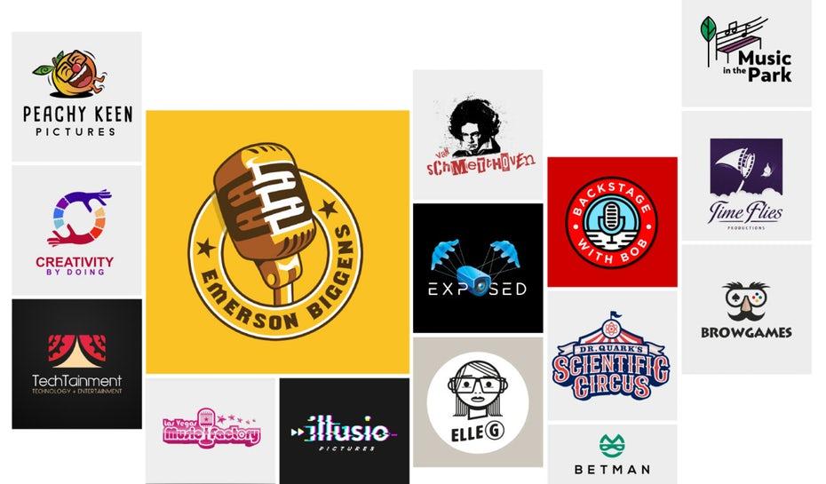коллаж из развлекательных логотипов