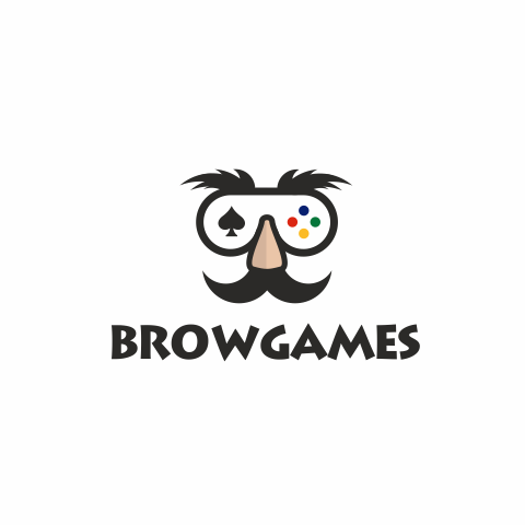 Управляемая видеоигра вылеплена в виде пюре с большим носом и бровями с текстом «browgames»