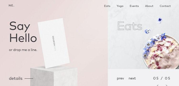 """Веб-сайт блога Nourish Eats """"width ="""" 750 """"height ="""" 362 """"/>    <figcaption> Via Nourish Eats </figcaption></figure> <p> Nourish Eats делает вещи простыми и ориентированными на содержание своего блог. Вместо использования ползунка в верхней части страницы, сайт объединяет вращающийся ползунок вправо, который просматривает различные категории на сайте. Слайдер обновляет контент и привлекает пользователей. Пользователи могут перемещаться в любой точке. или используйте стрелки, чтобы идти вперед или назад. </p> <h2> 5. Портфолио сайтов <br /> — </h2> <p> Портфельный веб-сайт предоставляет творческим профессионалам возможность продемонстрировать свои лучшие работы. Это идеально подходит для художников, писателей, дизайнеров, режиссеров, мебельщиков — вы называете это. </p> <p> При создании портфолио нет необходимости добавлять каждый отдельный проект, над которым вы когда-либо работали. Вместо этого сосредоточьтесь на создании категорий предметов и выделении лучших работ из каждой категории. Портфельный веб-сайт немного более креативный по своей природе, поэтому здесь можно попробовать уникальные макеты и добавить интересные функции. </p> <figure data-id="""