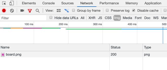 Chrome DevTools показывает загрузку png