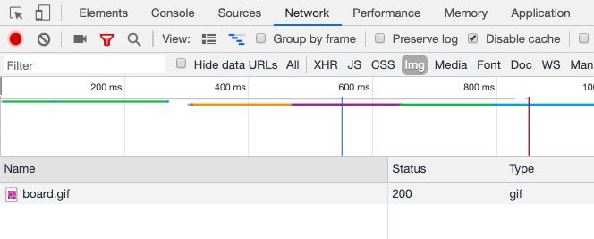 """Chrome DevTools показывает только загруженную gif """"width ="""" 420"""