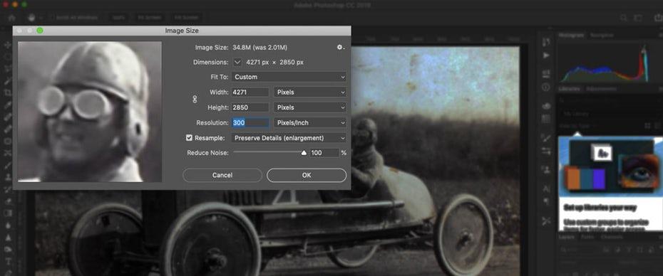 """Снимок экрана: окно """"Размер изображения"""" в Photoshop для изменения разрешения PPI """"width ="""" 1080 """"height ="""" 450"""