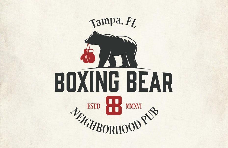 """логотип паба с изображением медведя с боксерскими перчатками во рту """"width ="""" 1508 """"height ="""" 977"""