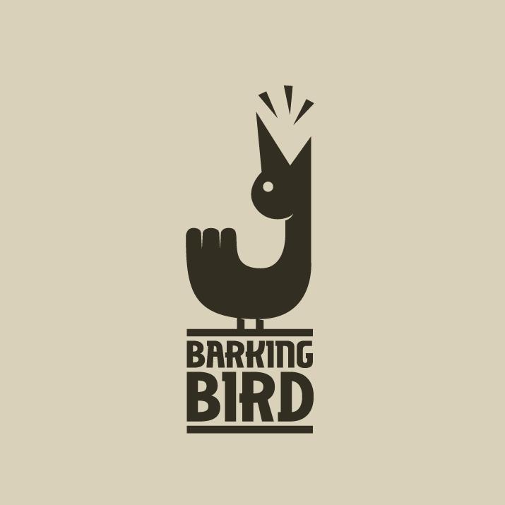 одноцветное изображение птицы, изгибающей шею и лающей