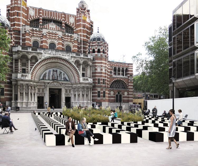 """labyrinth-resized-render """"width ="""" 750 """"height ="""" 630 """"/>    <figcaption> Визуализация Лабиринта Patternity </figcaption></figure> <p> Устойчивость также находится в центре внимания Лабиринта жизни Patternity , в котором используются «переработанные и перерабатываемые материалы». Лондонская студия дизайна создала «гигантский геометрический лабиринтный строй» в надежде, что он принесет «положительную пользу для здоровья пользователя, поскольку он будет путешествовать по центру города». часть». </p> <p> Посетителям рекомендуется погрузиться в структуру и поразмышлять о «священном пространстве среди шума и суеты лондонской жизни». </p> <figure id="""