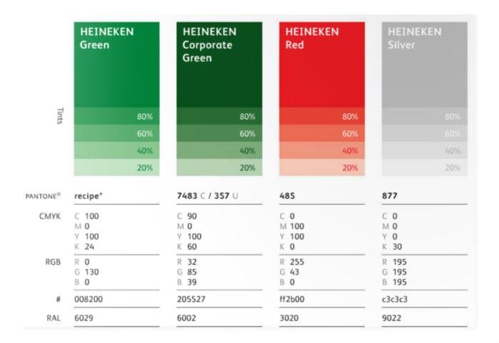 """Цветовая палитра дизайна Heineken """"width ="""" 700 """"height ="""" 481"""