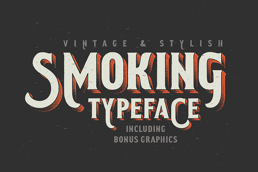 Smoking Typeface + Illustration Font