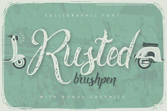 Rusted Brushpen Script + Bonus Font