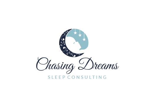 круглый логотип с изображением полумесяца у спящего ребенка под взвешенными звездами