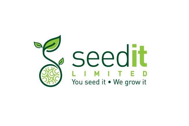зеленый логотип растения, прорастающего из круглой коллекции семян
