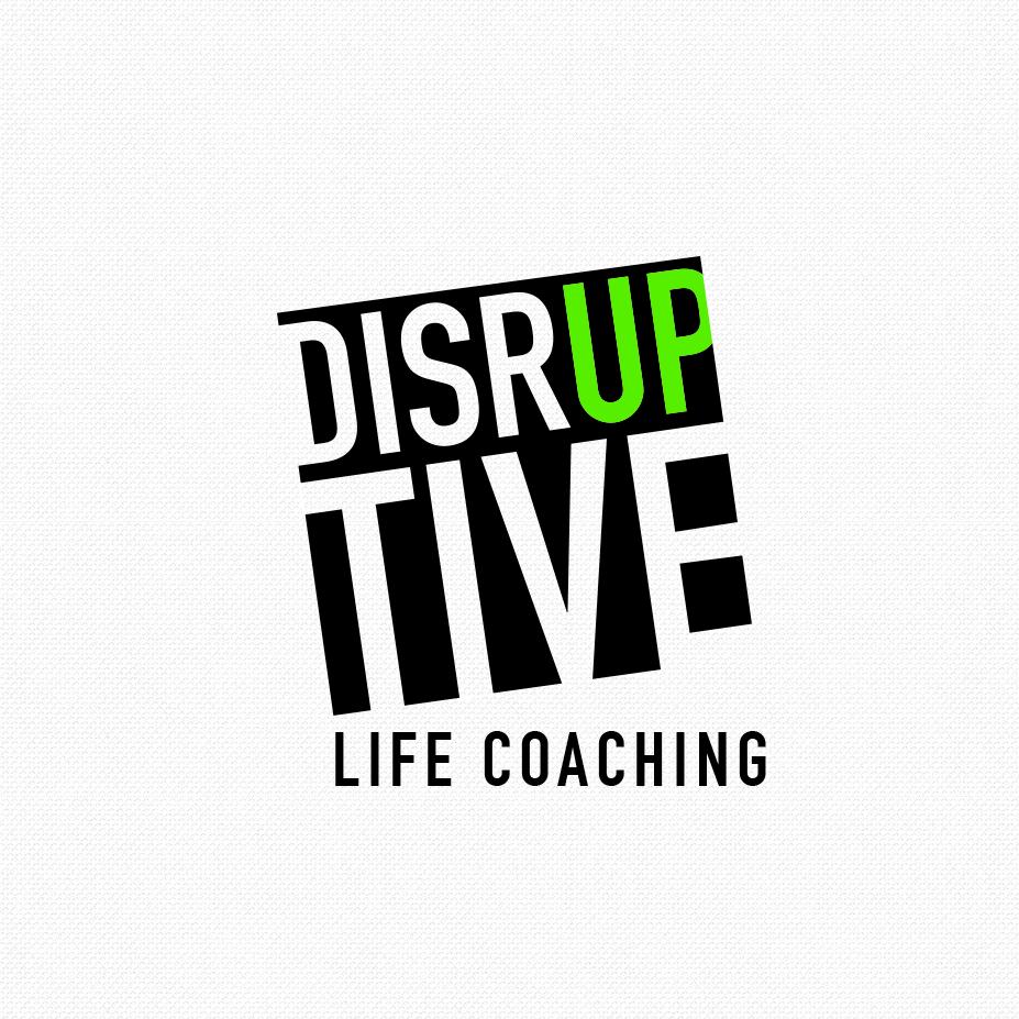 квадратный логотип со словом «Disruptive» с зеленым «вверх»