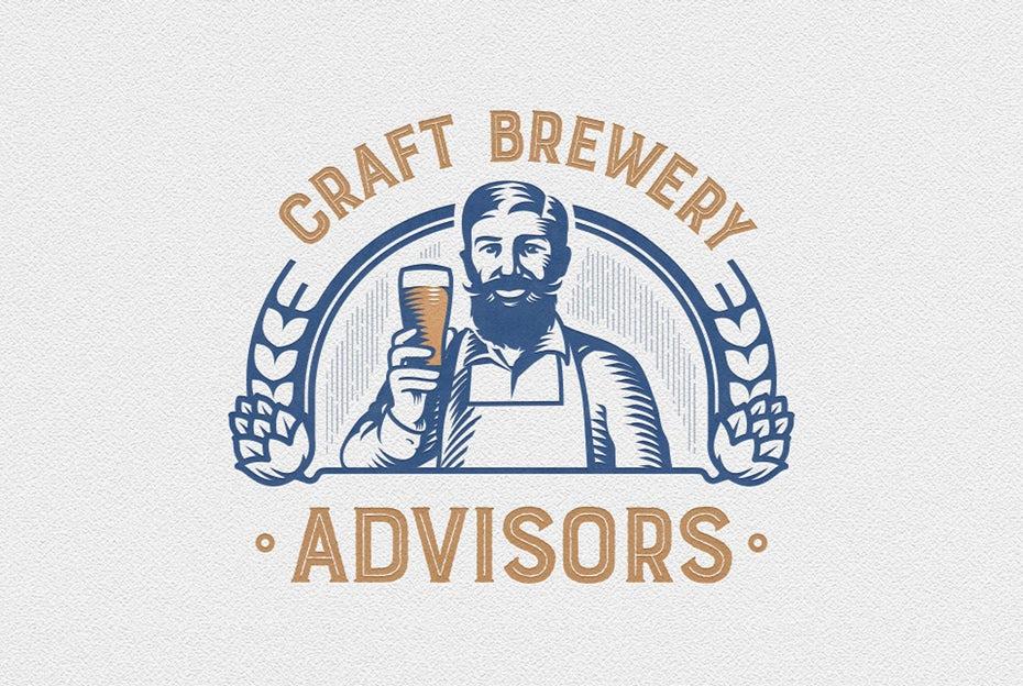 """двухцветный логотип в винтажном стиле человека, держащего стакан пива и улыбающегося зрителю """"width ="""" 959 """"height ="""" 643"""