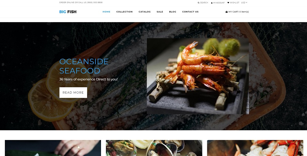 Big Fish - Seafood Restaurant Bright Shopify Theme