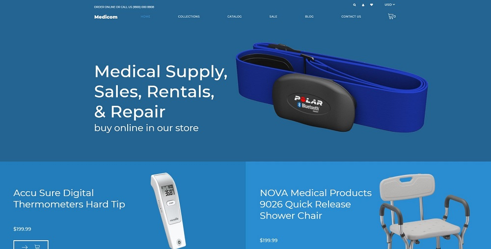 Medicom - Medical Equipment Multipage Clean Shopify Theme