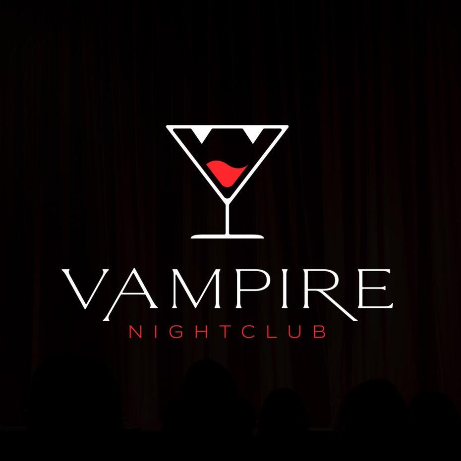 """белый контур бокала для мартини с двумя треугольниками вверху, представляющими клыки и красную жидкость внутри, как язык """"width ="""" 1017 """"height ="""" 1017"""