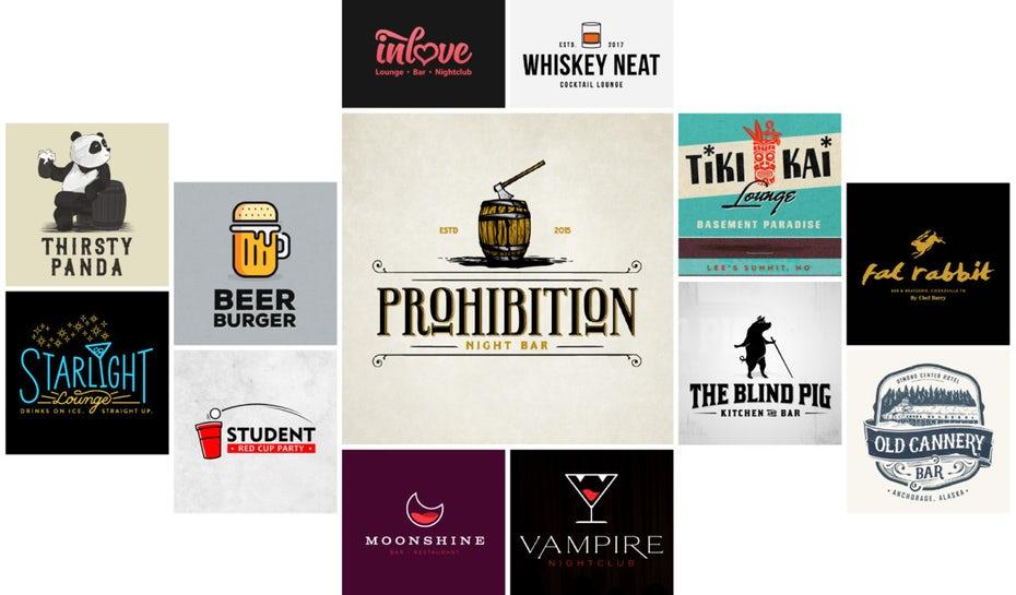 коллекция различных логотипов баров и клубов