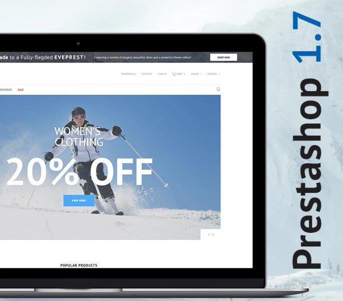 Sportek — Бесплатный PrestaShop шаблон магазина снаряжения для зимних видов спорта