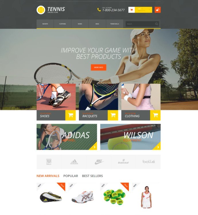 PrestaShop тема магазина аксессуаров для тенниса