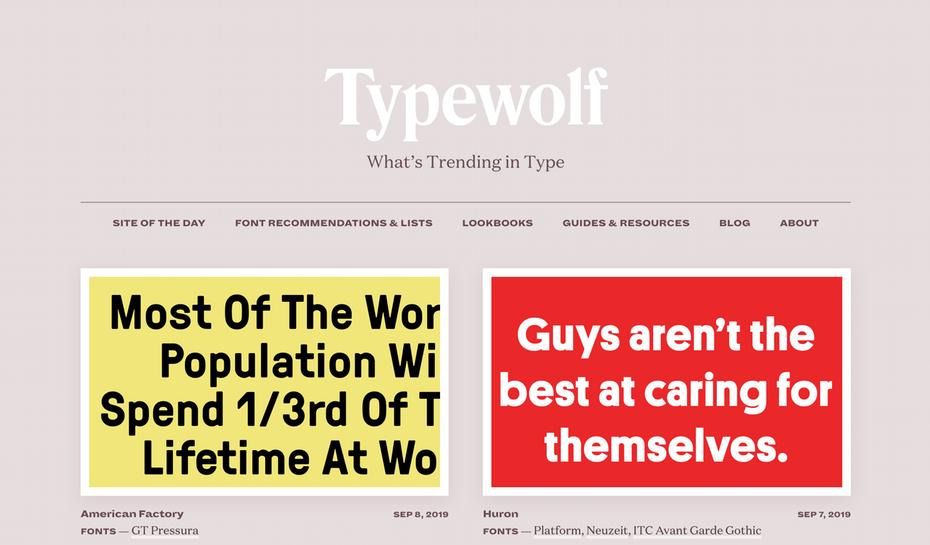 """Домашняя страница Typewolf """"width ="""" 2608 """"height ="""" 1528 """"/>    <figcaption> Прекрасное погружение в мир шрифта </figcaption></figure> <p> Хотите узнать, что нового в типе? Посетите Typewolf коллекцию справочников, рекомендаций, публикаций в блогах и руководств по типографике, снабженных шрифтами, чтобы вдохновить ваш следующий дизайн. </p> <p> <strong> Цены: бесплатно   Посетите typewolf.com </strong> </p> <h4><span id="""