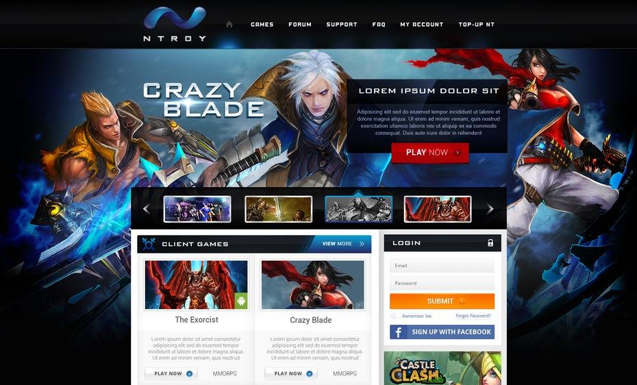 Мощный драматический веб-дизайн видеоигры
