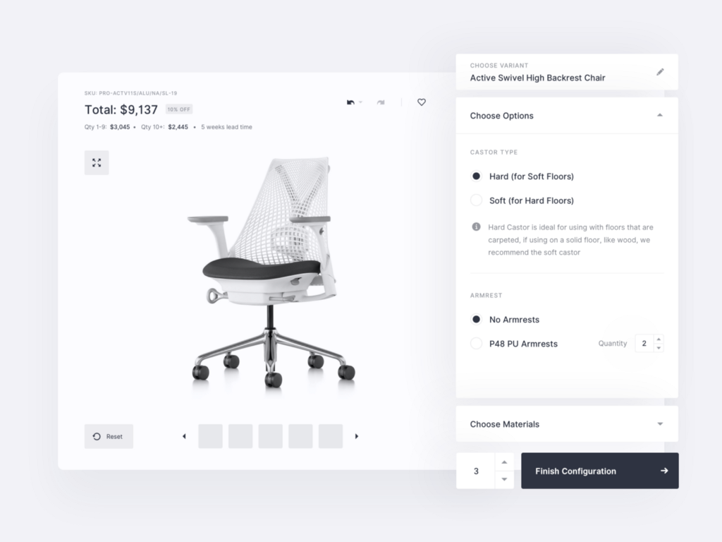 Mimeeq—Product configurator wireframes