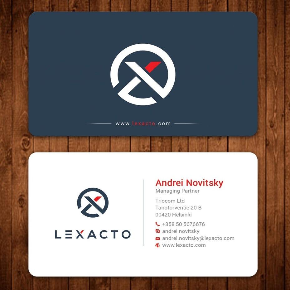 визитная карточка адвоката с логотипом round corner