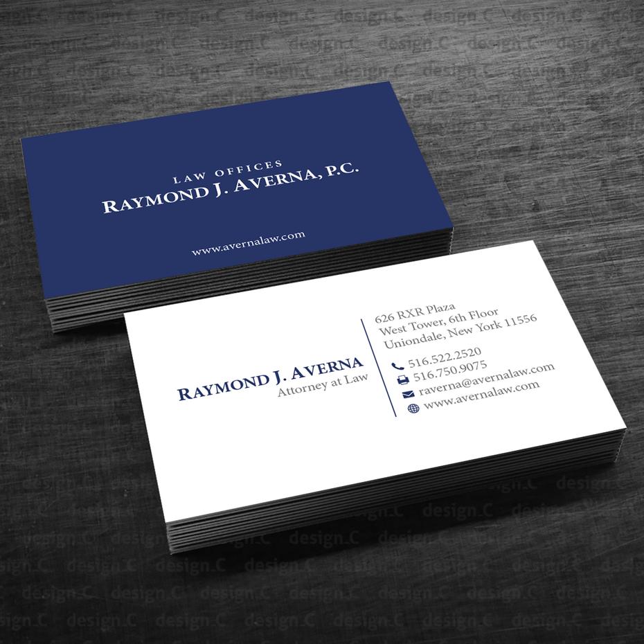 сине-белая визитная карточка адвоката