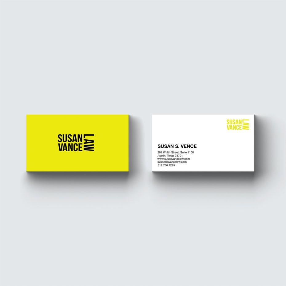 желтая асимметричная визитная карточка адвоката