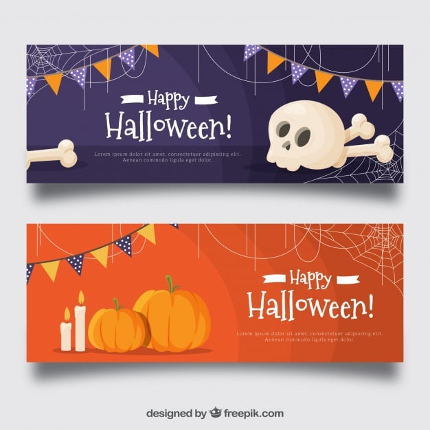 Halloween celebration banners with bones and pumpkins
